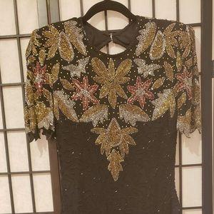 Vintage Black colorful sequins Dress size Small